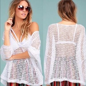 FREE PEOPLE Napa crocheted white oversized sweater